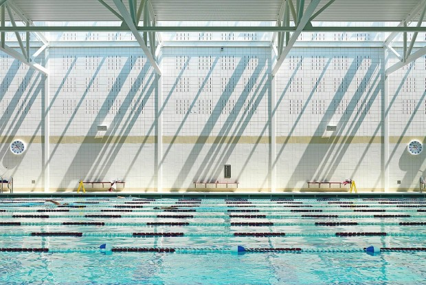 a huge image of the pool at the beede natatorium & fitness center in concord massachusetts designed by omr architects
