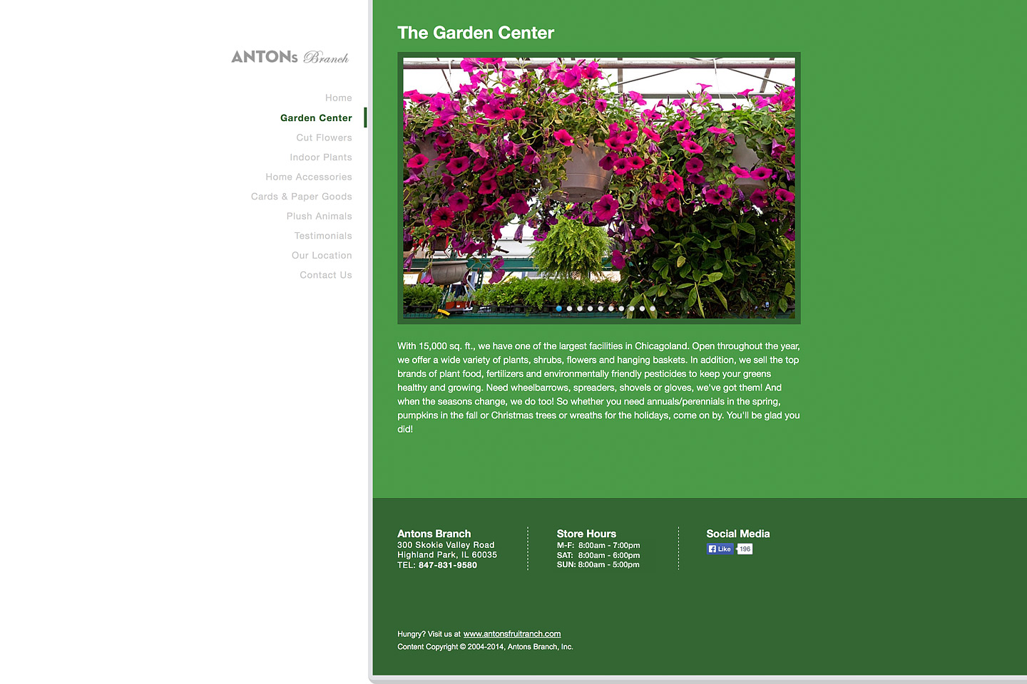 a screen capture of the garden center page, featuring several hanging baskets of purple petunias for sale in the antons branch green house