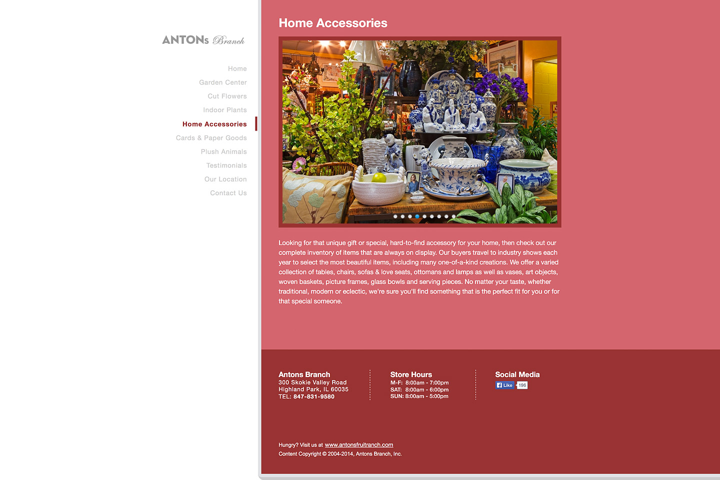 a screen capture of the home accessories page, featuring a beautiful arrangement of home accessories for sale in the antons branch showroom