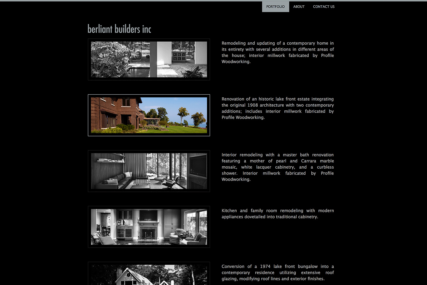 a screen capture of the portfolio page, featuring selected projects completed by berliant builders