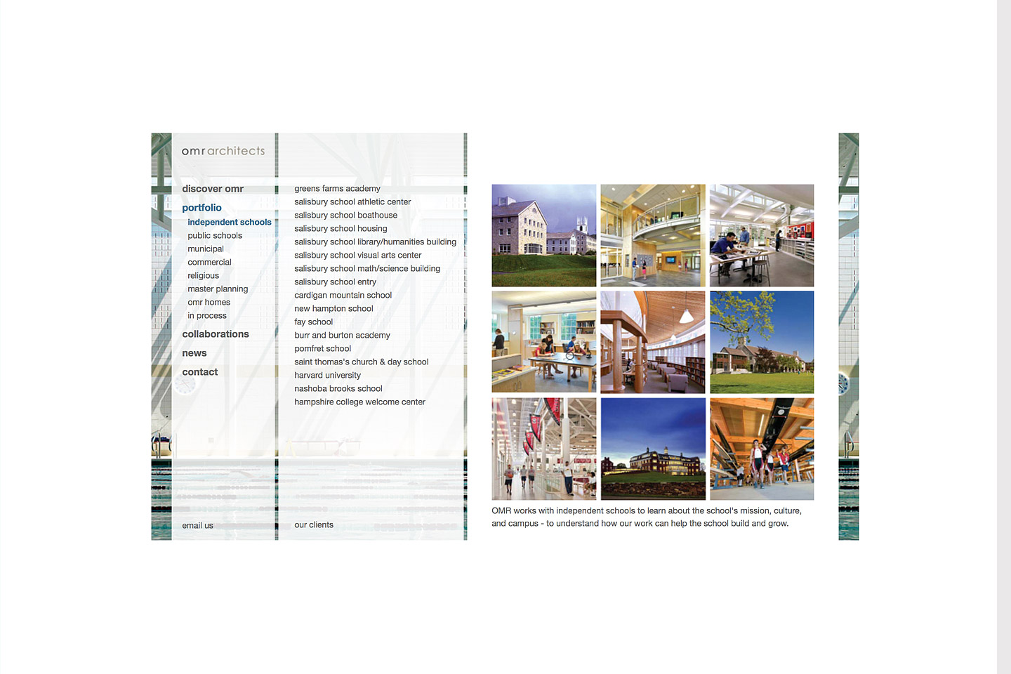 a screen capture of the omr architects portfolio landing page for their independent schools projects, featuring 9 thumbnail images of various independent school spaces