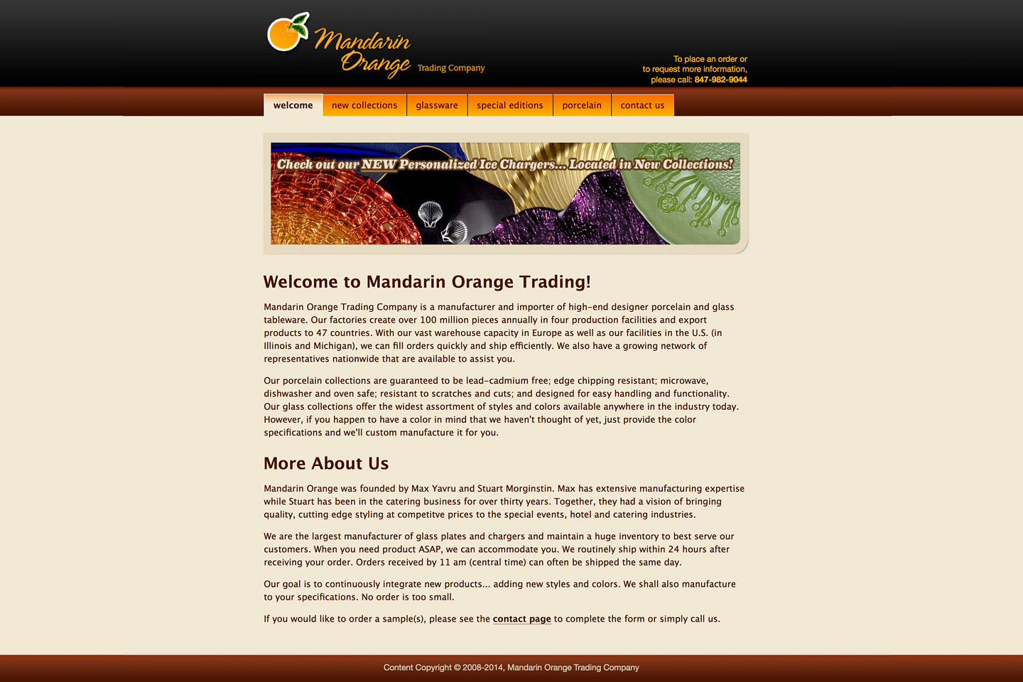 a screen capture of the mandarin orange trading company homepage, featuring an montage of various colorful charger plates