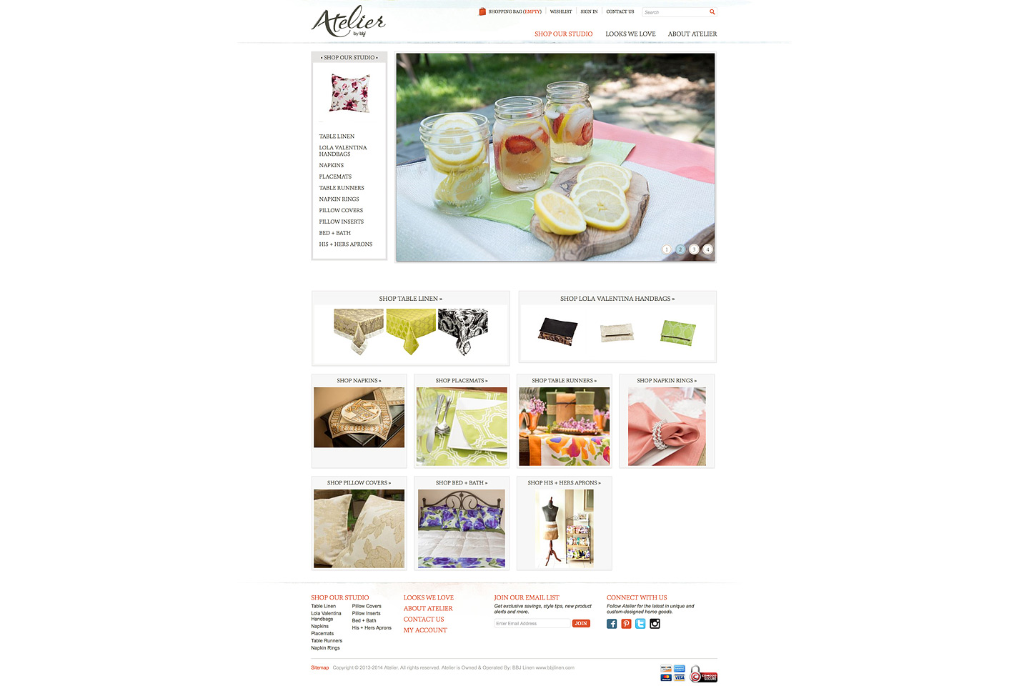 a full length screen capture of the atelier by bbj homepage featuring all sorts of colorful images of designer home products