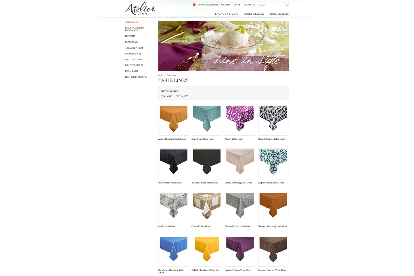 a screen capture of the atelier by bbj table linen landing page, featuring rows of colorful thumbnails depicting various table linen swatches