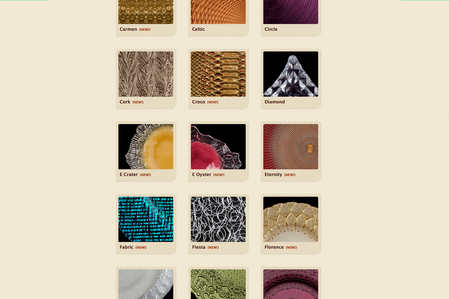 a screen capture of the mandarin orange trading company new collections chargers family, featuring thumbnails of all the new collections charger patterns