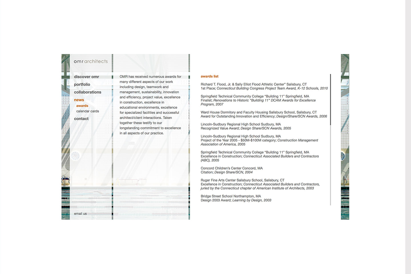 a screen capture of the omr architects awards page, detailing in writing, various awards omr architects has won