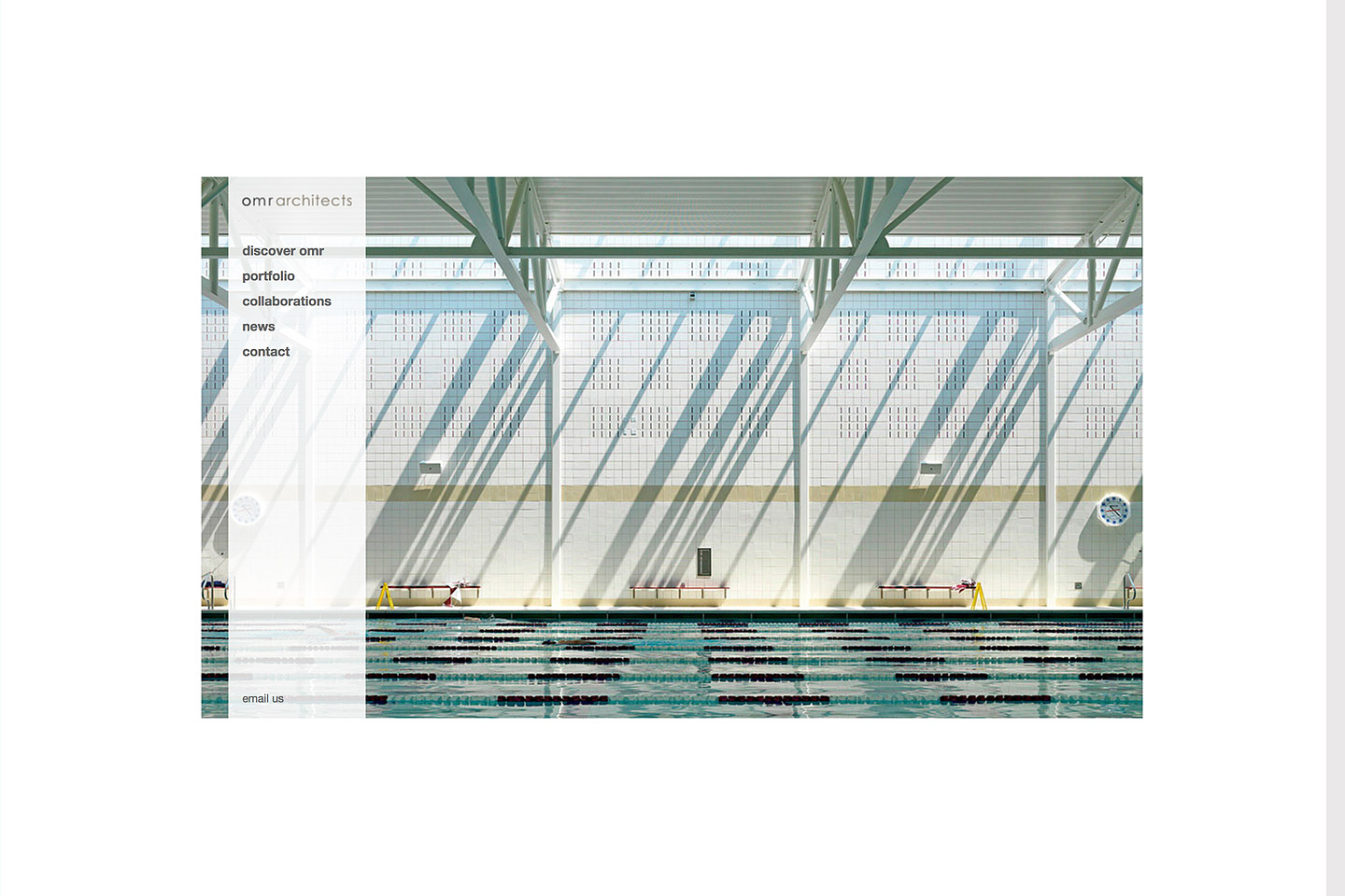 a screen capture of the omr architects homepage, featuring a large background image of the pool at the beede natatorium & fitness center