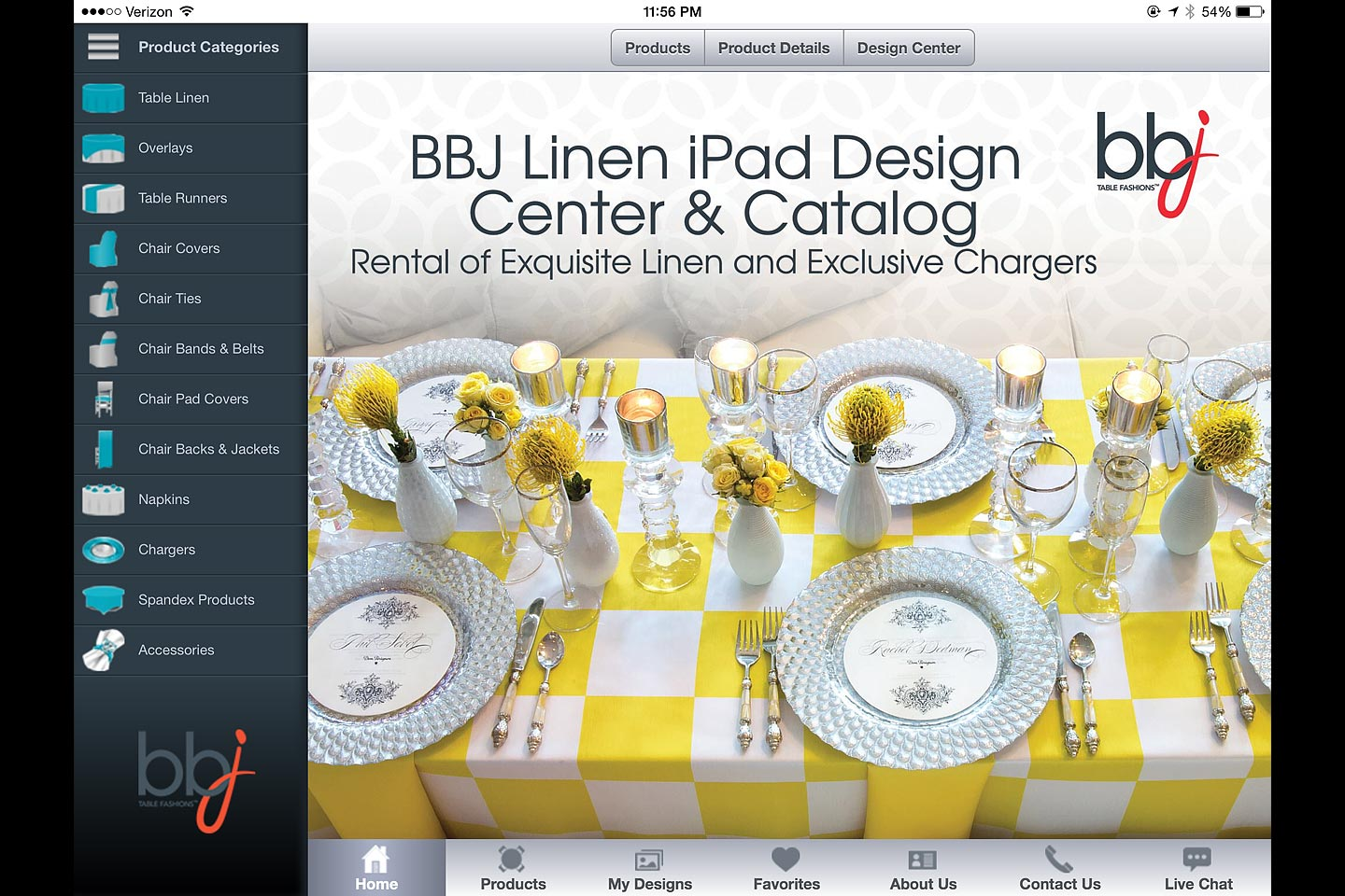 a screen capture of the app homepage featured in the bbj linen ios ipad app designed and developed by 4d, inc.