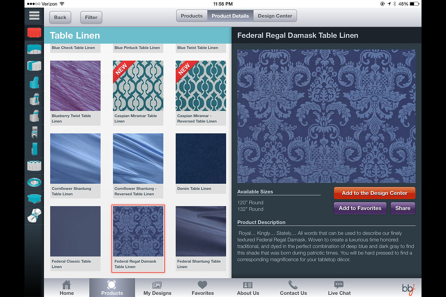 a screen capture of a table linen product details module featured in the bbj linen ios ipad app designed and developed by 4d, inc.