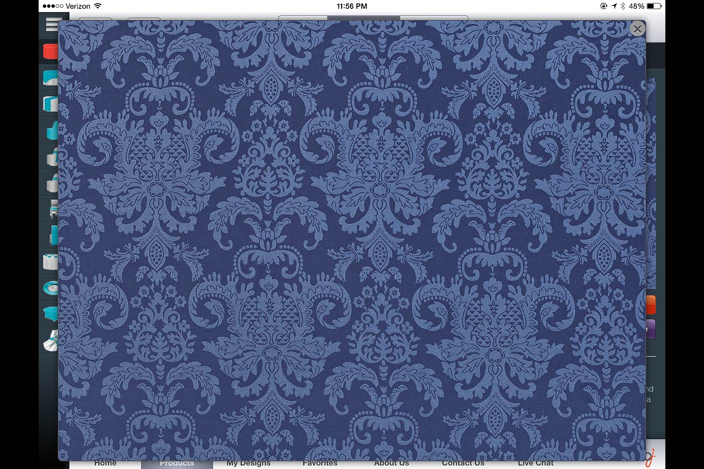 a screen capture of a product swatch full-screen enlargement featured in the bbj linen ios ipad app designed and developed by 4d, inc.