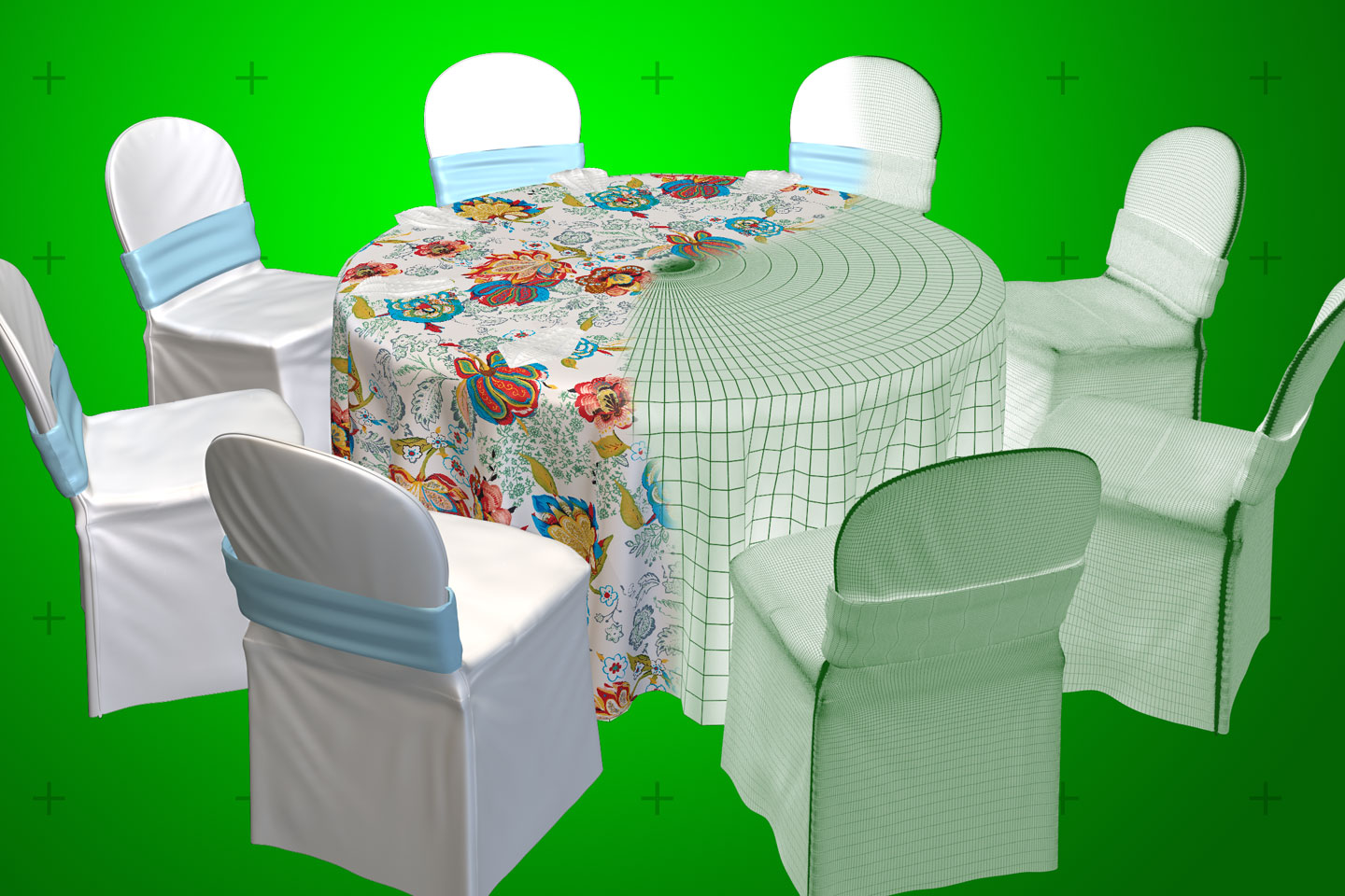 an enlarged view of a bbj linen virtual design center custom designed table rendering half wireframe half rendered