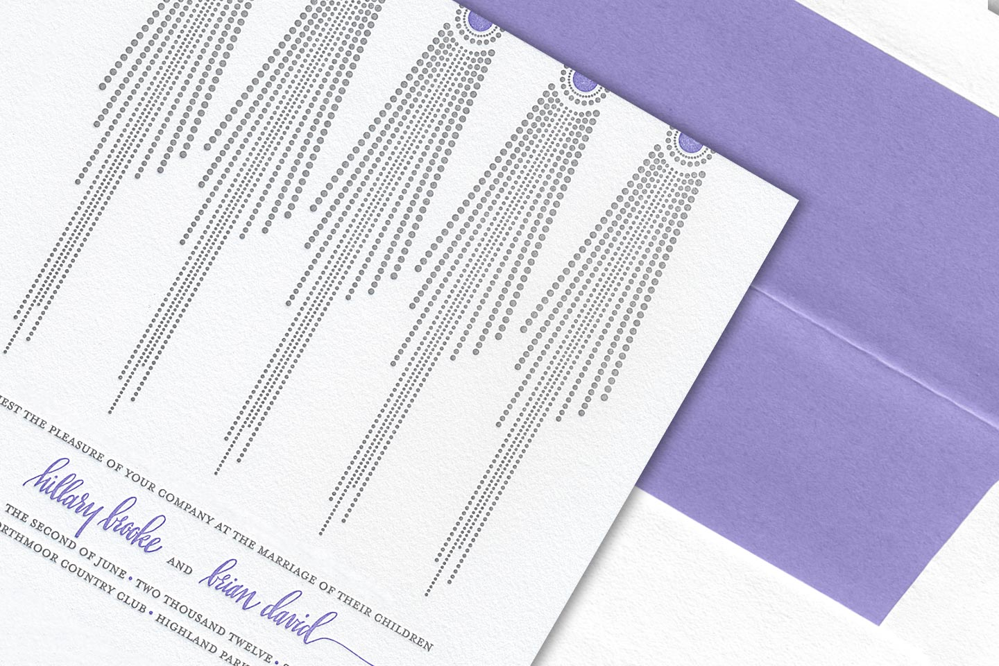 a beautiful sample wedding invitation for hillary brooke and brian david, overlayed on top of its envelope featuring a beautiful lavender liner, captured by 4d, inc