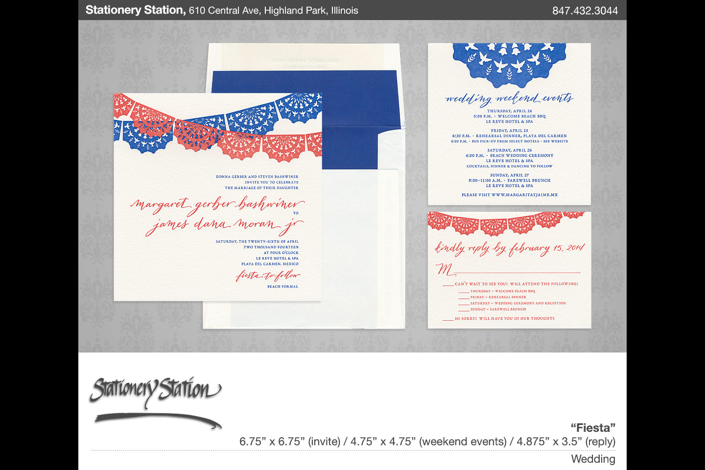 a sample stationery station enlargement of a wedding invitation suite called Fiesta, scanned and digitally arranged by 4d, inc