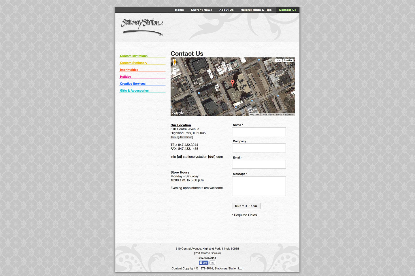 a screen capture of the stationery station contact us page, designed and developed by 4d, inc