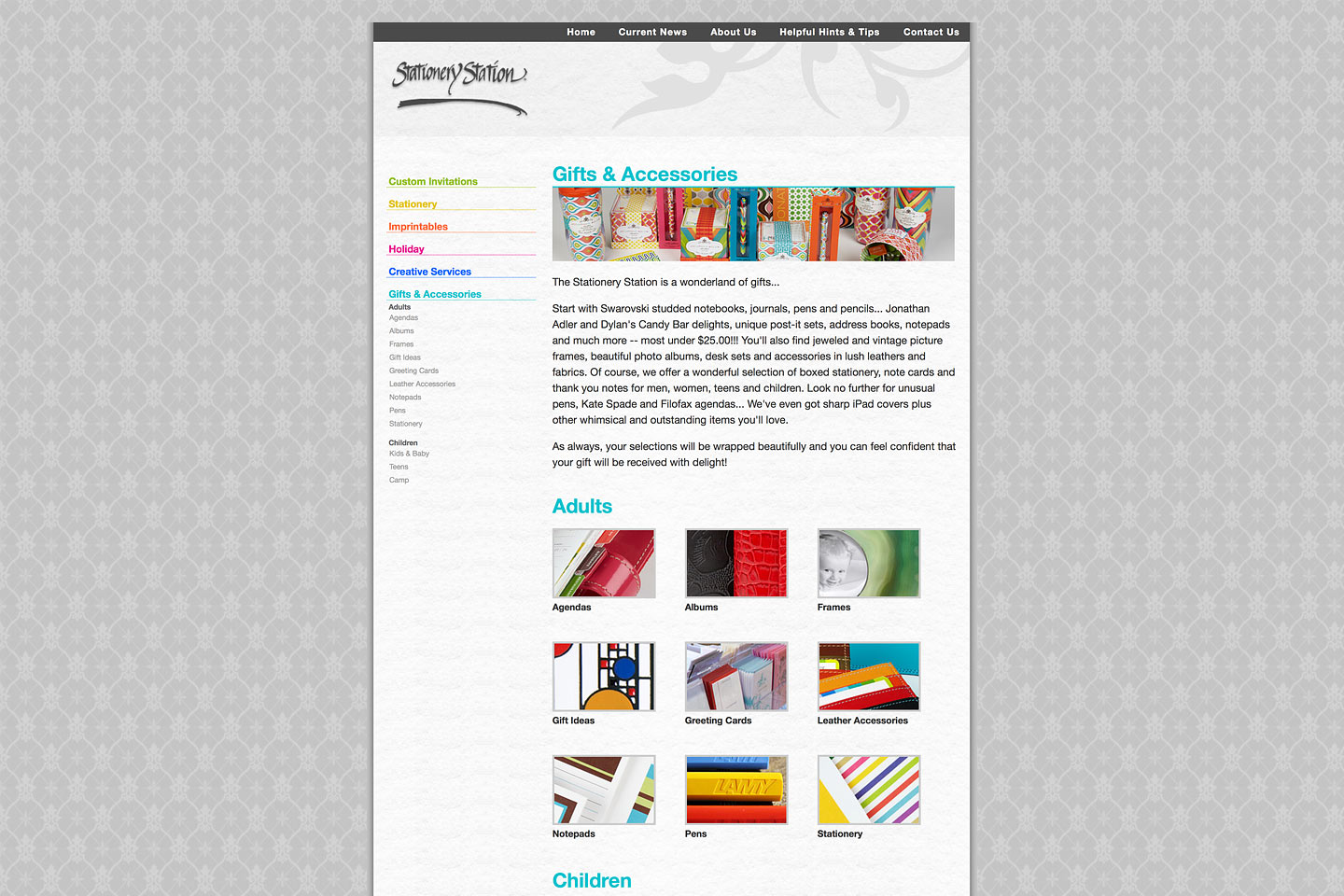 a screen capture of the stationery station gifts & accessories page, designed and developed by 4d, inc