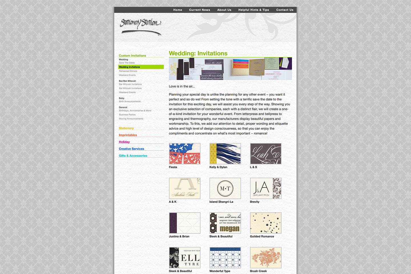 a screen capture of the stationery station custom wedding invitations landing page, designed and developed by 4d, inc