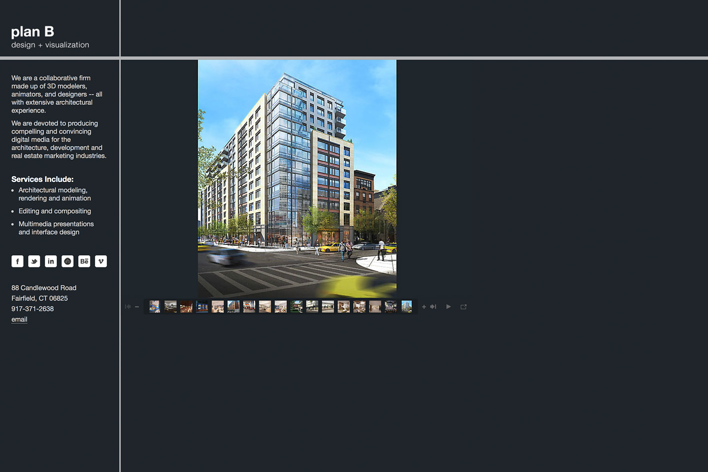 a screen capture of the planbdesign.net website featuring a rendering of a mixed use highrise building located on st. nicholas avenue in harlem