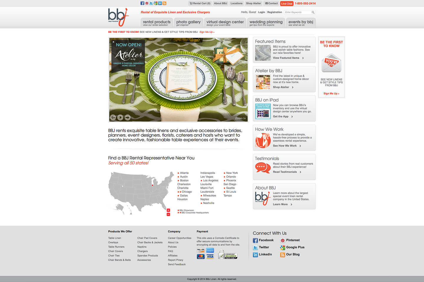 a screen capture of the bbjlinen.com homepage