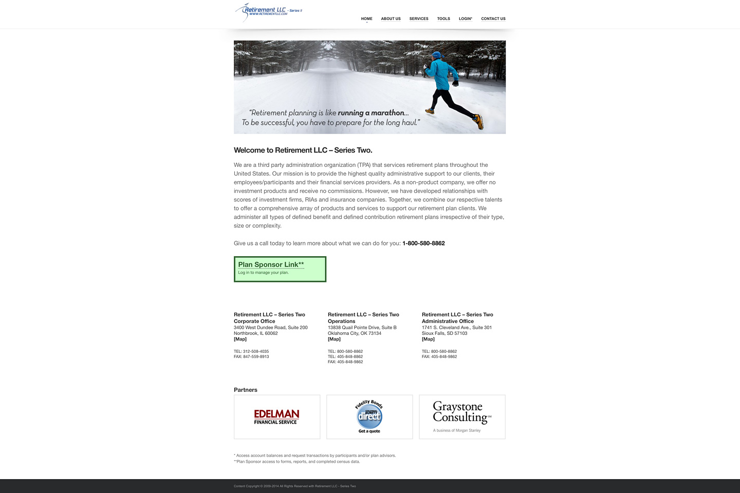 a screen capture of the retirementllc.com homepage which features a wide screen image carousel and a responsive layout