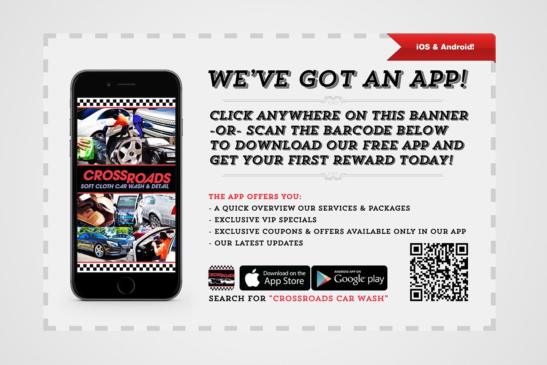 crossroads car wash car new app announcement graphic design by 4d inc