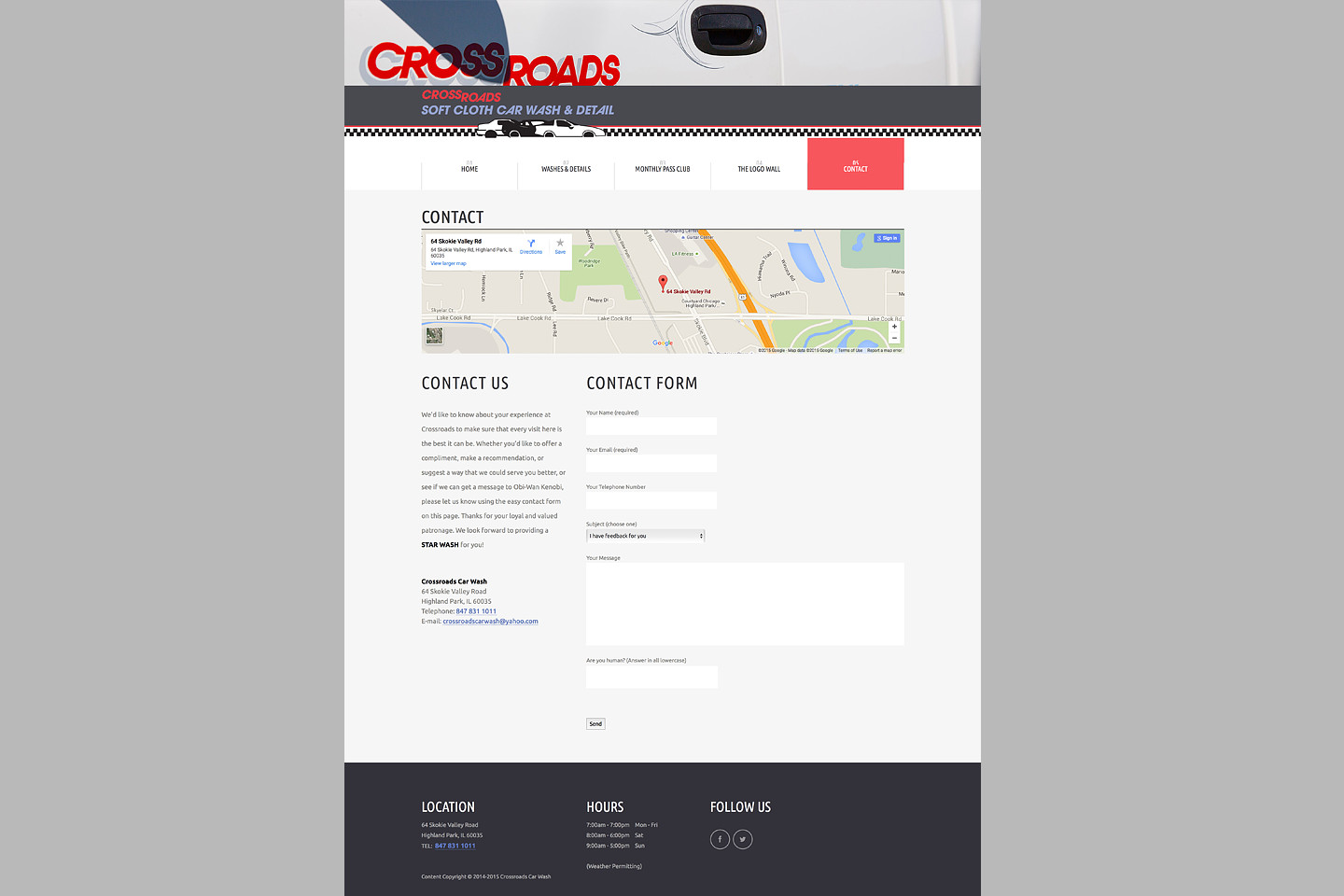 crossroads car wash responsive web design contact page by 4d inc